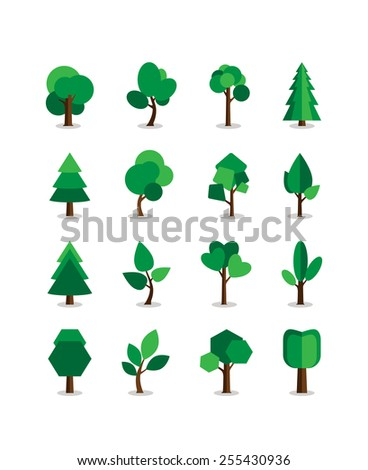 Set of  green tree symbols. Leaves and trunk, bark and nature. Vector illustration - stock vector
