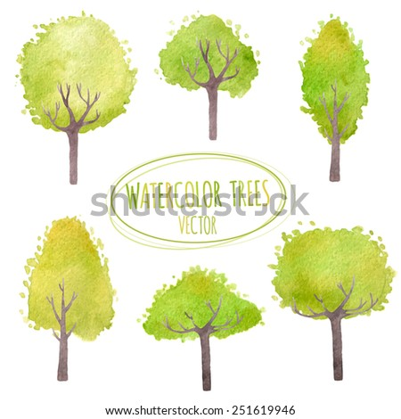 Set of green trees. Vector watercolor. Isolated design objects. - stock vector