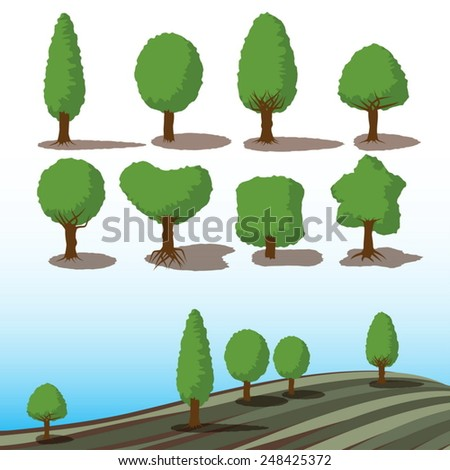 set of green trees with shadows for landscape concept - stock vector