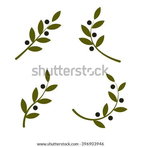 Set of green vector olive branch logo. Olives oil sign. Symbol of peace. Greek religious sign. Mythological icon.Healthy products label. Organic cosmetics. Eco food. Natural element. Agricultural item - stock vector