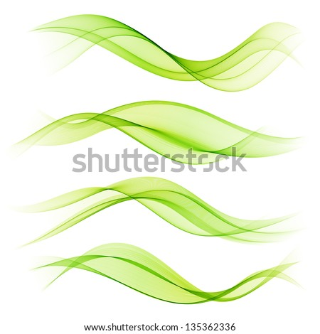 Set of green wave - stock vector