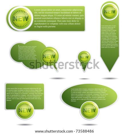 Set of green website elements.Promotional speech bubbles - stock vector