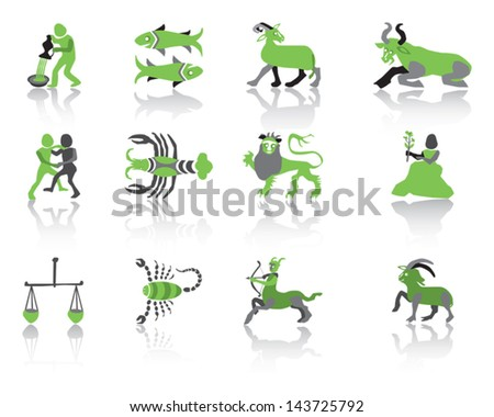 Set of green zodiac icons Vector Illustration. - stock vector