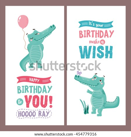 Set of greeting card design with cute crocodile character. Happy birthday to you -typography with ribbons and funny letters. For baby birthday, party, invitation. - stock vector