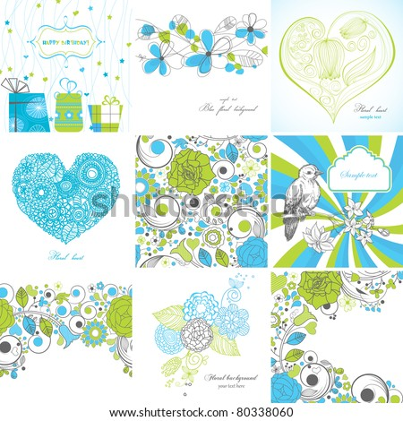 Set of greeting cards - stock vector