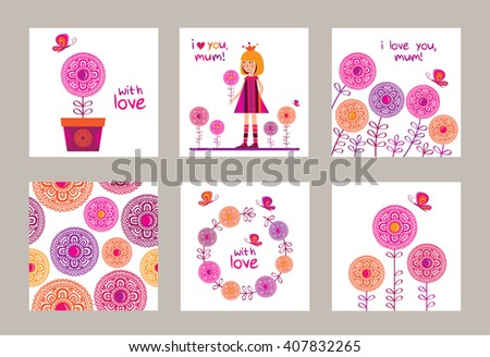 Set Greeting Cards Mothers Day Birthday Stock Vector 407832265