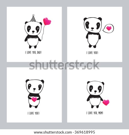 Set Greeting Cards Valentines Day Mothers Stock Vector Hd Royalty