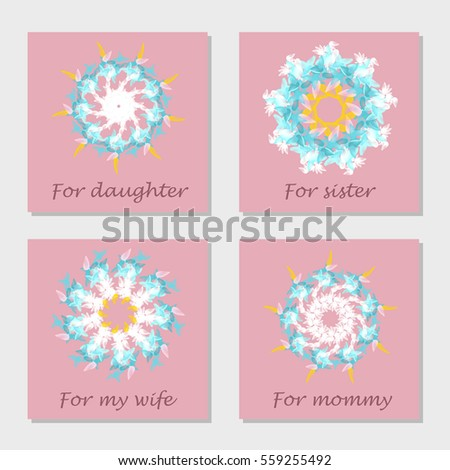 Set greeting cards woman congratulation valentines stock vector set of greeting cards for woman congratulation with valentines day mothers day international bookmarktalkfo Images