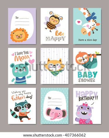 Set of greeting cards with cute animals - stock vector