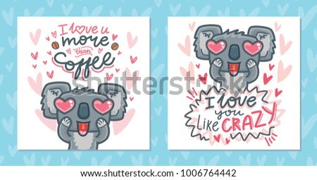 Set greeting cards koala bear character stock vector 1006764442 set of greeting cards with koala bear character madly in love with heart eyes on romantic m4hsunfo