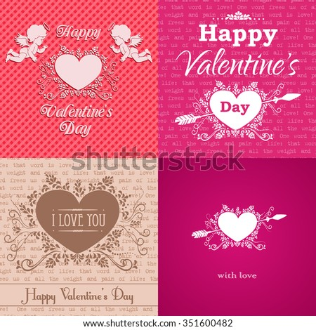 Set of greeting Valentine's Day cards. Vector illustration with ornament and typography elements. - stock vector