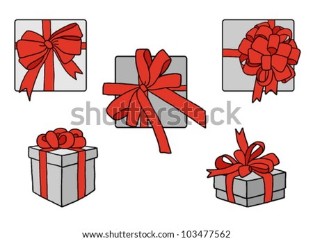 Set of grey boxes with red ribbon bows - stock vector