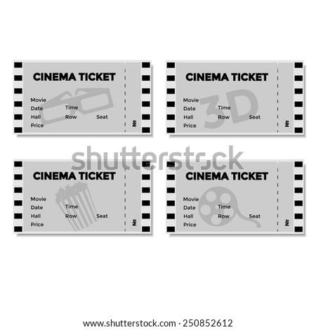Set of grey cinema ticket. Vector illustration. - stock vector