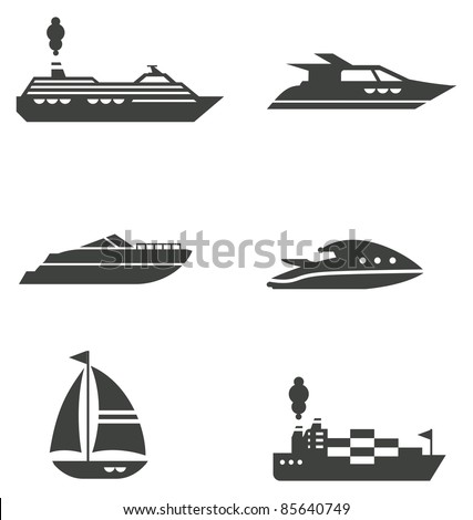 Set of grey stylized boat icons - stock vector