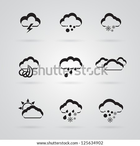 set of grey weather icons - stock vector