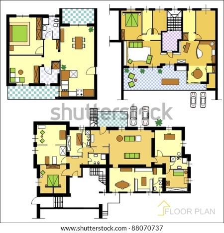 Set of ground floor blueprints - stock vector