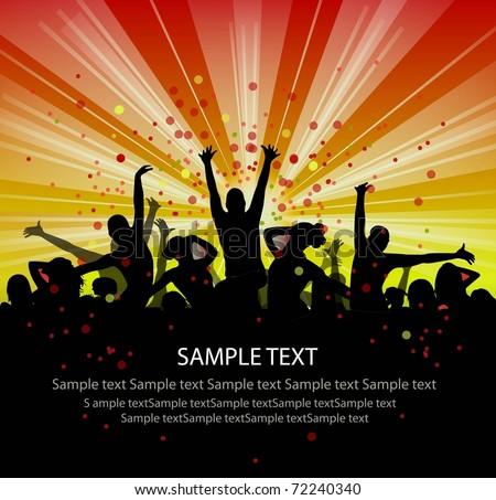 set of group peoples dance vector. flyer.vector - stock vector