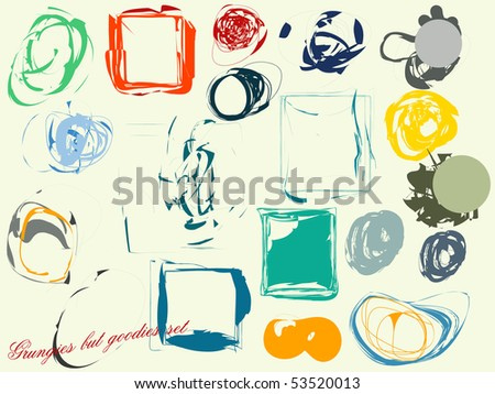 Set of grunge artistic design elements: frames, banners, textures - stock vector