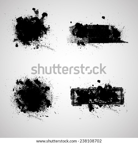 Set of Grunge Banners. Rubber Stamp Texture . Distress Background . Grungy Texture .Retro Background. Vintage Background . Texture Background . Abstract Shape . Ink Splash Banner . Vector . - stock vector