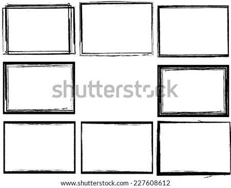 Set of Grunge Black and White Frames . Distress Border Frame Collection . Vector Frames for your Design .  - stock vector