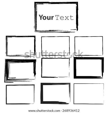 Set of Grunge Black  Frames - stock vector
