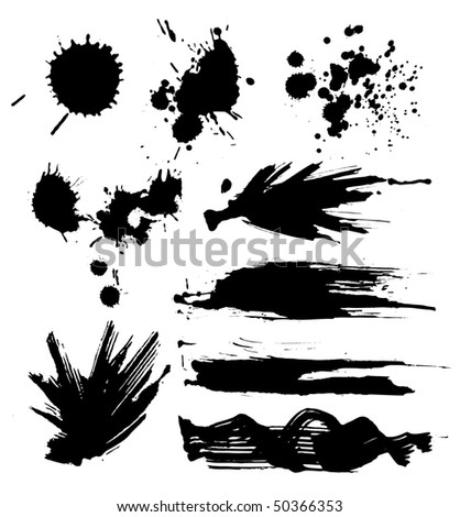 set of grunge blots - stock vector