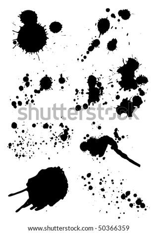 set of grunge blots - stock vector