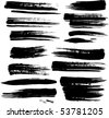 Set of grunge brush strokes - stock vector