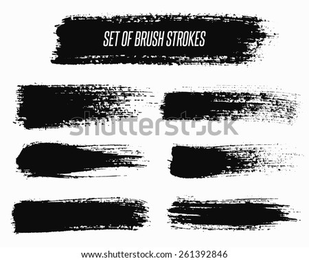 Set of grunge brush strokes. Paintbrush backgrounds set for text. Distress texture, isolated. Vector design elements for banners, labels, badges templates, frames, pattern brushes. EPS10 vector. - stock vector