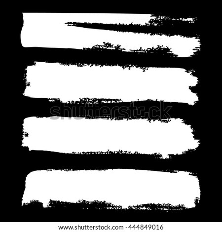 Set of  grunge brushstrokes on black background vector illustration. Abstract hand drawn grunge banners