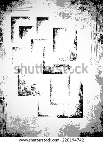 Set of grunge corners - stock vector