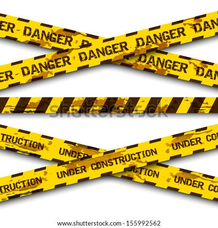 Set of grunge cross warning tapes isolated on white background . Caution tape, warning tape. Vector illustration - stock vector