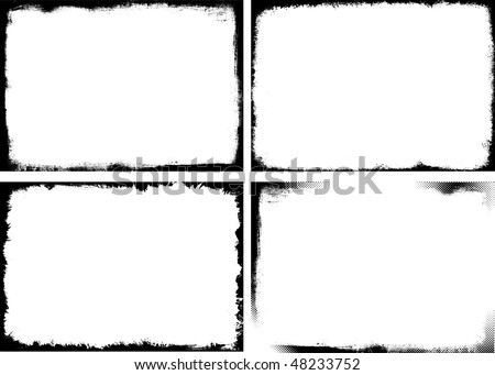 Set of 4 grunge frame - stock vector