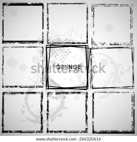 Set of grunge frame background - stock vector