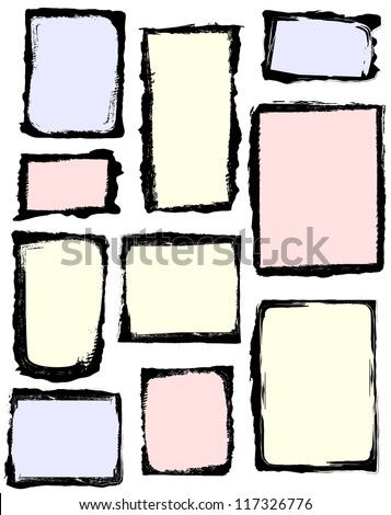 Set of grunge frames. All frames have an isolated background. Frame image or background color is easy to customize. - stock vector