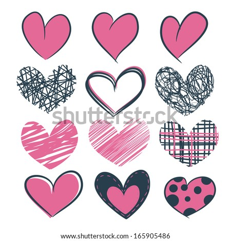 Set of grunge hand drawn pink hearts isolated icons. Vector illustration for design - stock vector
