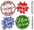 Set of grunge office rubber stamps with work award, vector illustration - stock vector