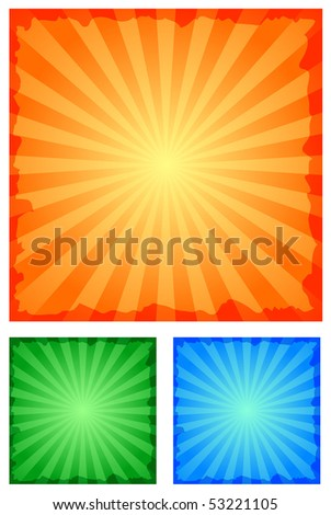 set of grunge ray backgrounds - stock vector