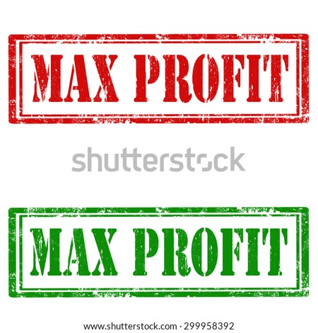 Set of grunge rubber stamp with text Max Profit,vector illustration - stock vector