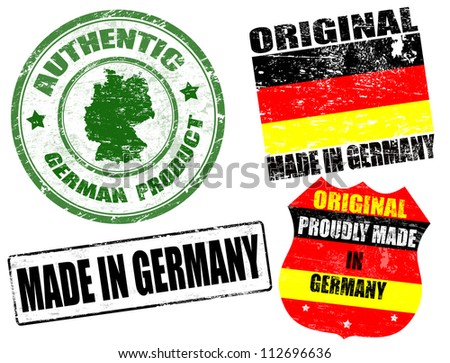 Set of grunge rubber stamp with the text made in Germany written inside, vector illustration - stock vector