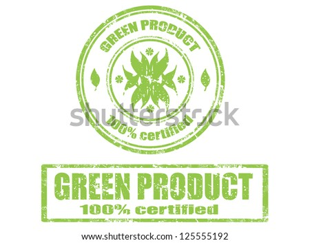 Set of grunge rubber stamp with word green product inside,vector illustration