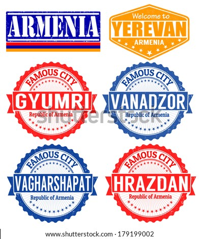Set of grunge rubber stamps with names of Armenia cities, vector illustration