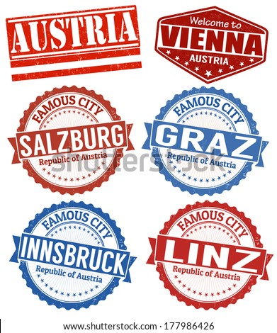 Set of grunge rubber stamps with names of Austria cities, vector illustration - stock vector