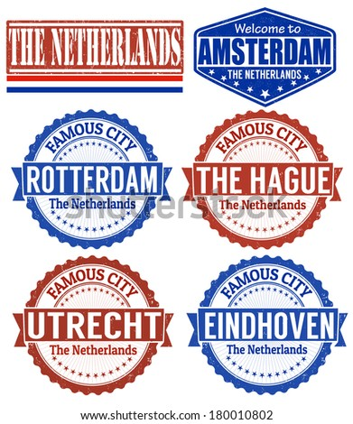 Set of grunge rubber stamps with names of The Netherlands cities, vector illustration