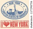 Set of grunge rubber stamps with  New York, vector illustration - stock photo