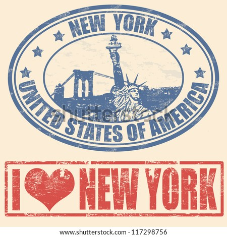 Set of grunge rubber stamps with  New York, vector illustration - stock vector