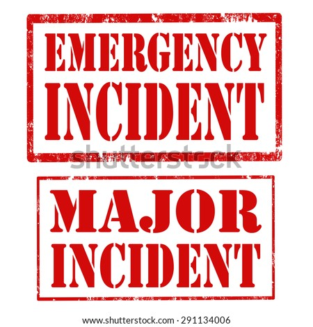 Set of grunge rubber stamps with text Emergency Incident and Major Incident,vector illustration - stock vector