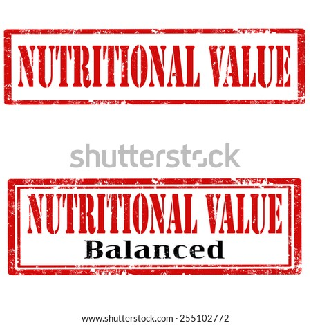 Set of grunge rubber stamps with text Nutritional Value,vector illustration - stock vector