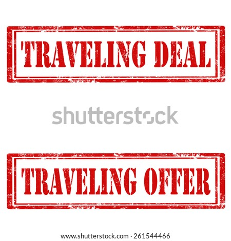 Set of grunge rubber stamps with text Traveling Deal and Traveling Offer,vector illustration - stock vector