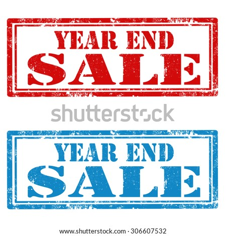 Set of grunge rubber stamps with text Year End Sale,vector illustration - stock vector